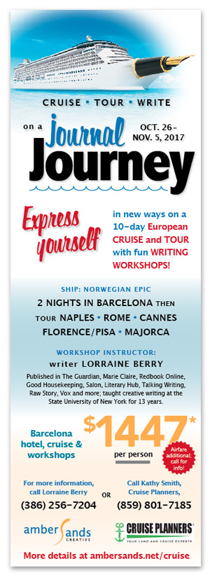 Journal Journey with amberSands Creative's Lorraine Berry - write travel and cruise!