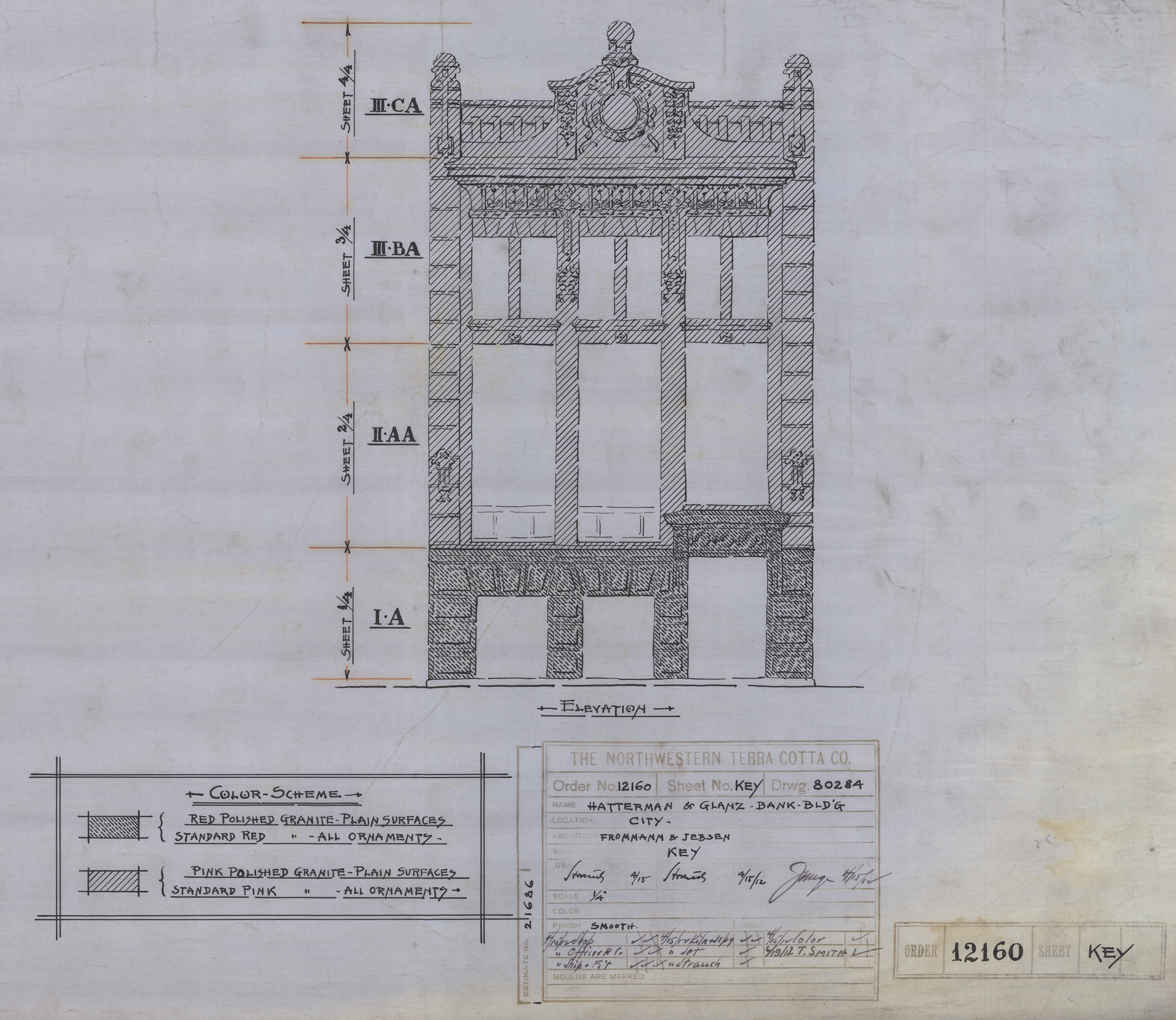 Original drawings for the Hatterman and Glanz Bank Building from the Northwestern Terra Cotta Company (order number 12160) via Frommann & Jebsen Architects in Chicago, drank on April 15th, 1912. (courtesy of the  National Building Museum in Washington DC).