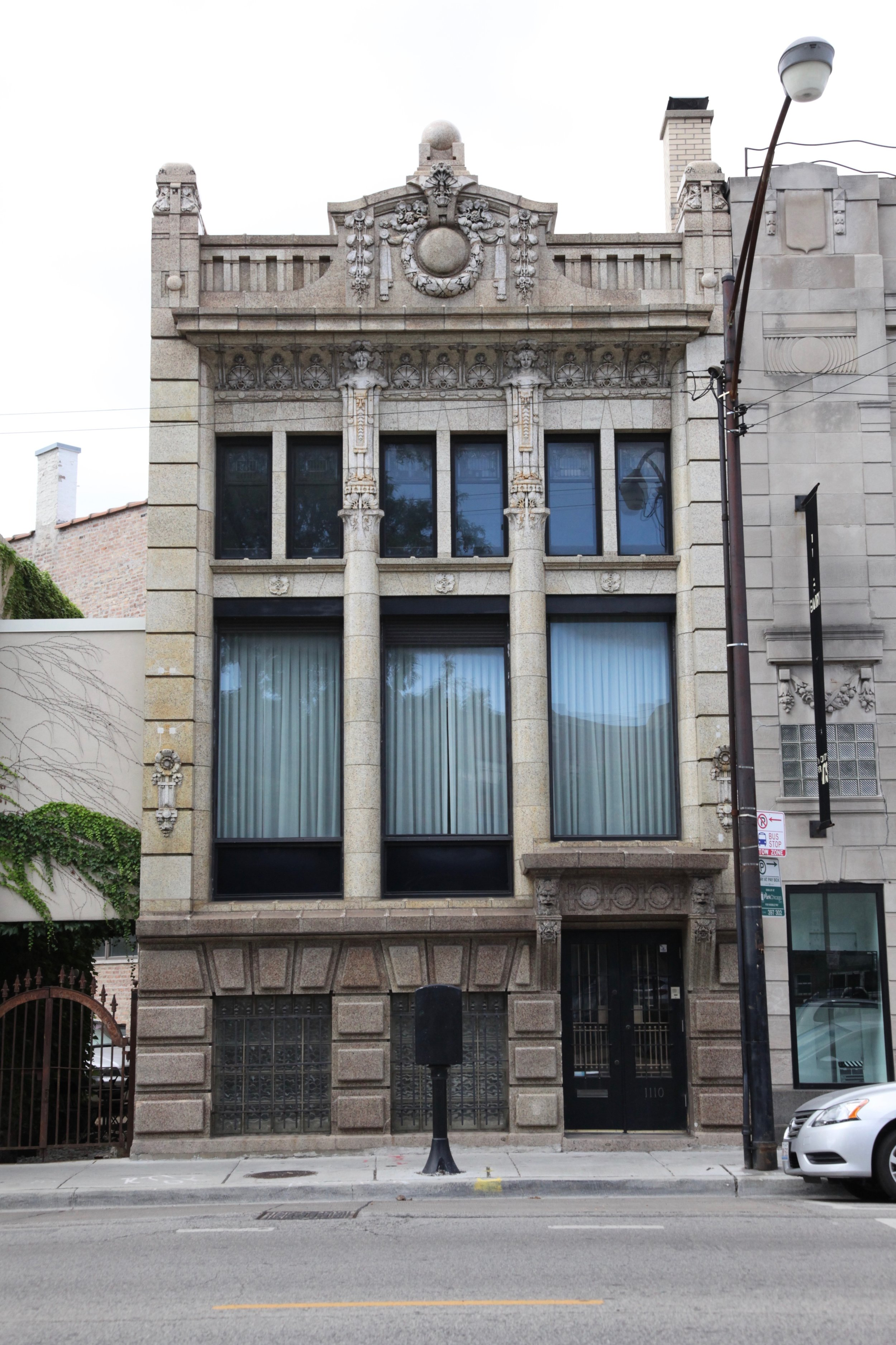 Facade of building designed by   architects Frohmann & Jebsen with terra cotta fabricated by the  Northwestern Terra Cotta Company in Chicago