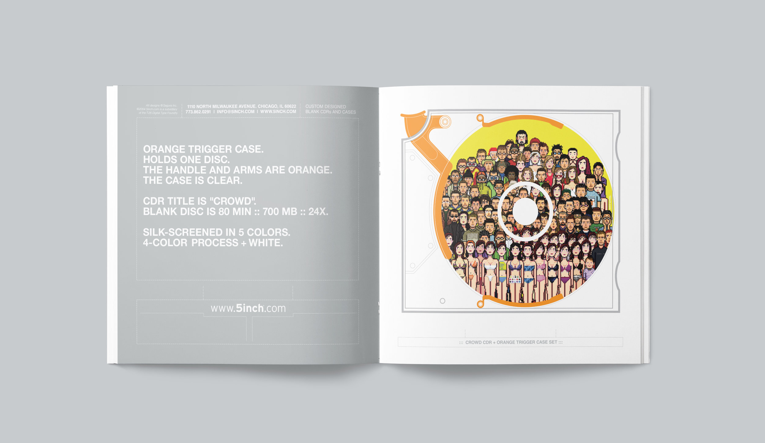 """5inch promotional catalog. """"Crowd"""" spread."""