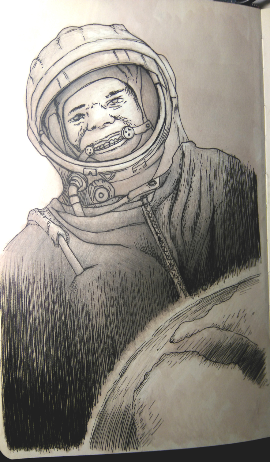 Moleskin, Cosmonaut Sketch - Copic Marker, pencil, pen and ink.