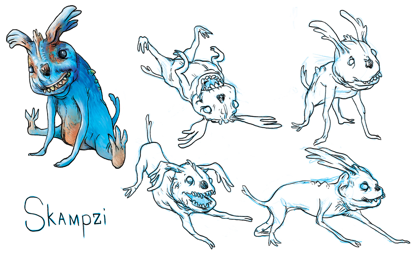 character concepts for Skampzi that lovable alien dog