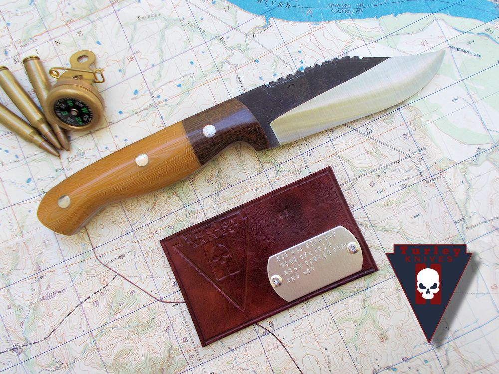 Barbwire micarta bolsters with Natural linen micarta scales