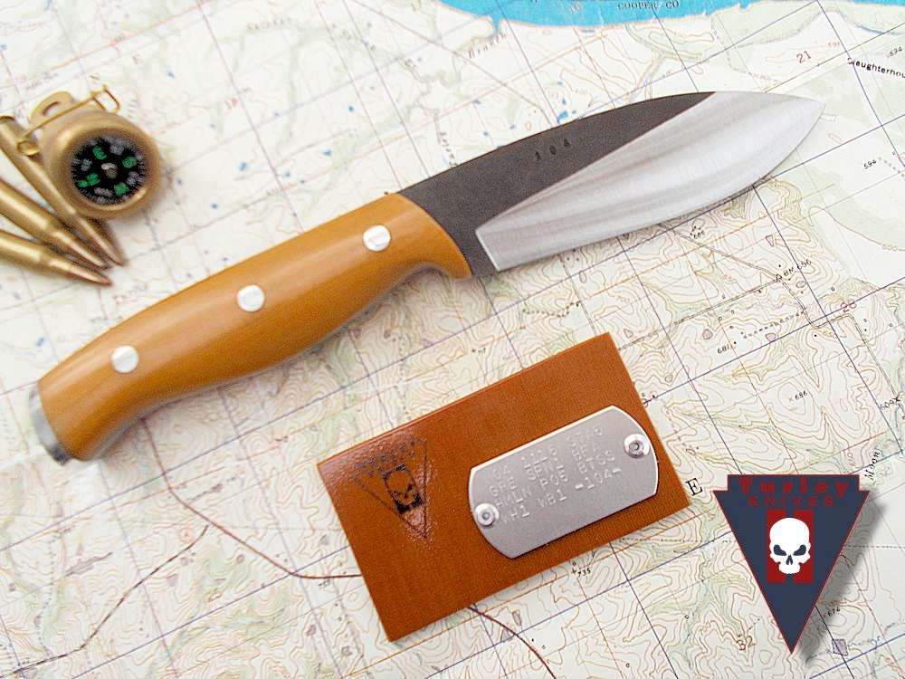 M4 (new pattern) with varied grind, natural linen micarta scales, aluminum pommel plate, stainless bolts