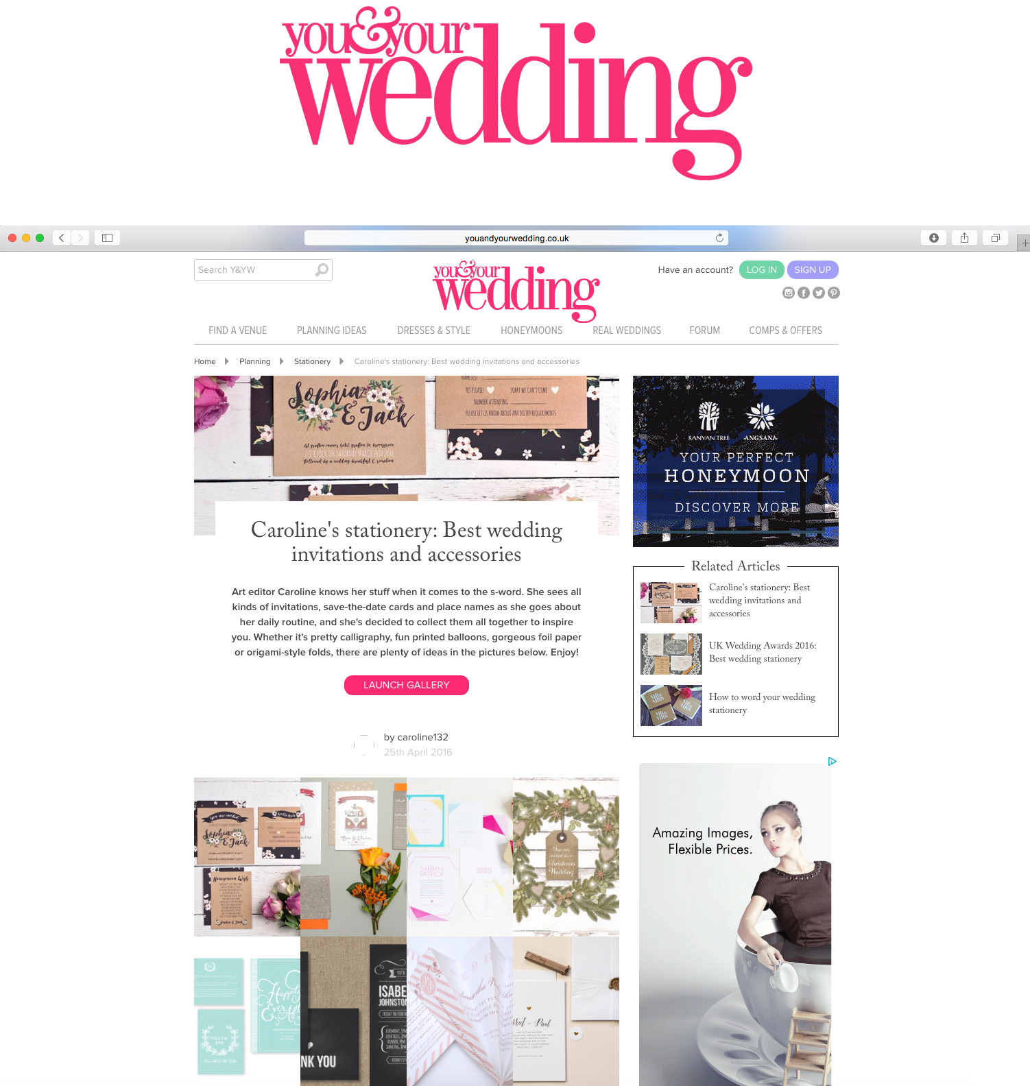 You & Your Wedding, Caroline's stationery: best wedding invitations and accessories
