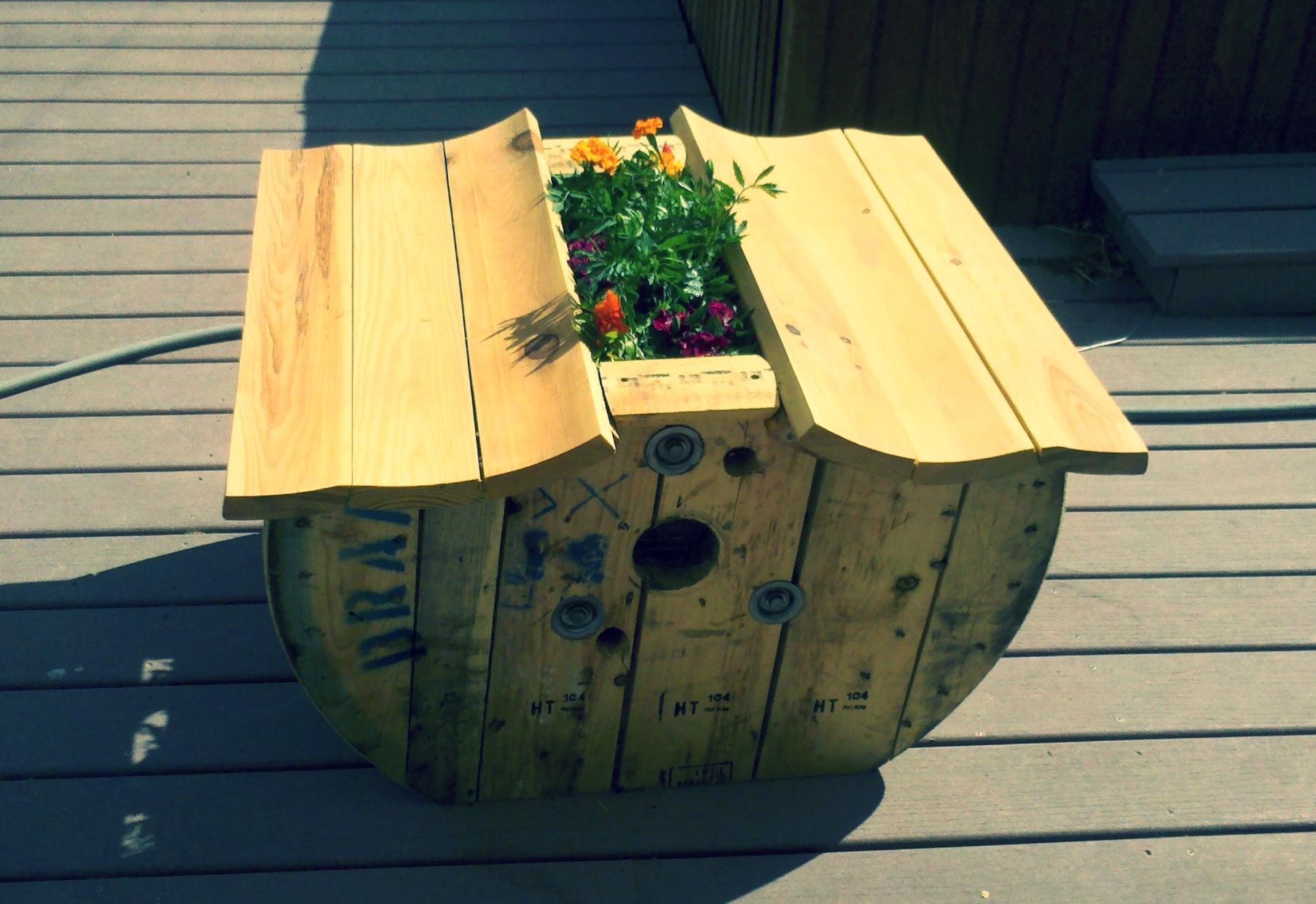 Spool Double Bench Planter