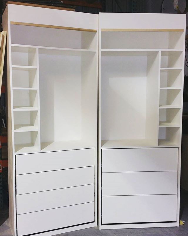 Custom wardrobes w/ push to open drawers. So close to install I can taste it. #customwoodworking #murphybed