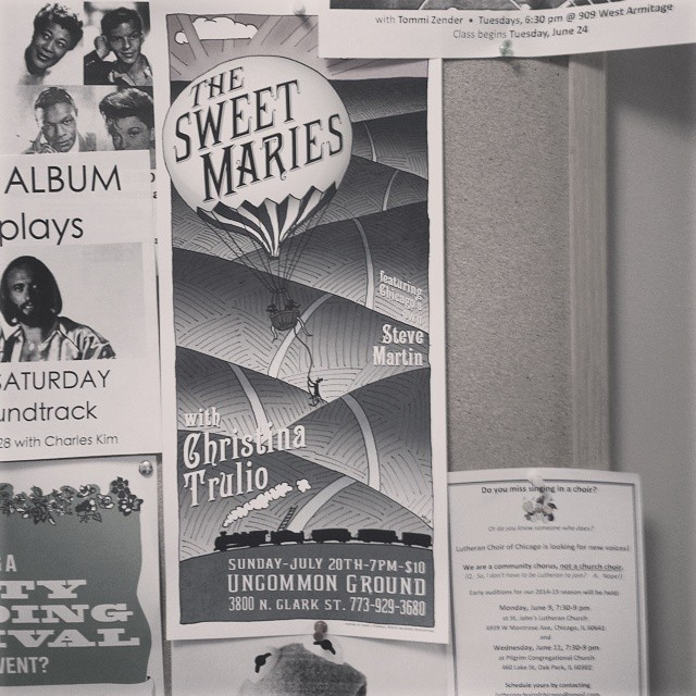 Poster spotting in Lincoln Square for the show this Sunday. Tell us, where have you spotted our poster about town? #thesweetmaries #ceolwind #christinatrulio #uncommonground  #poster_design