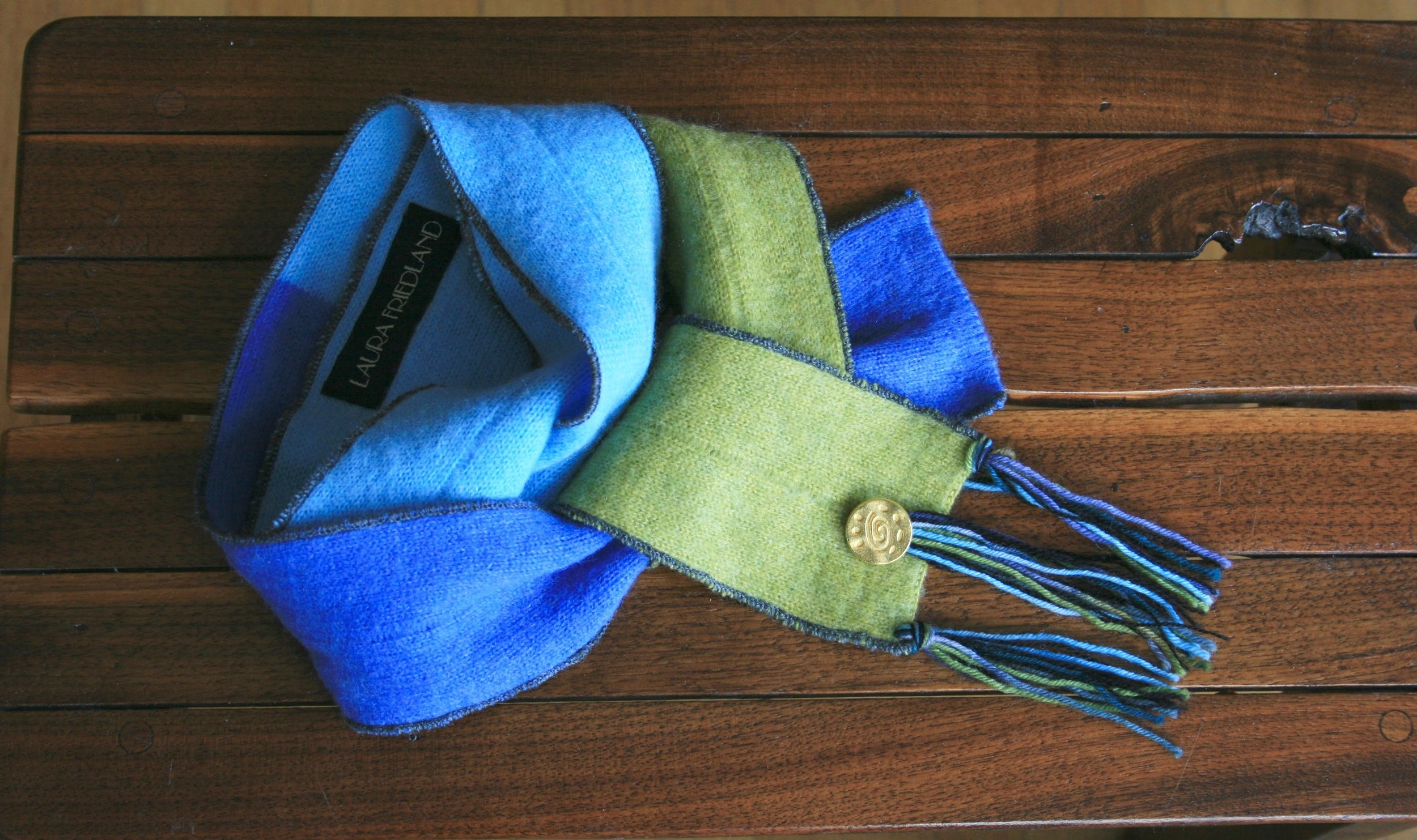 Ocean Blues and Green Cashmere Skinny Scarf with Gold Button and Fringe