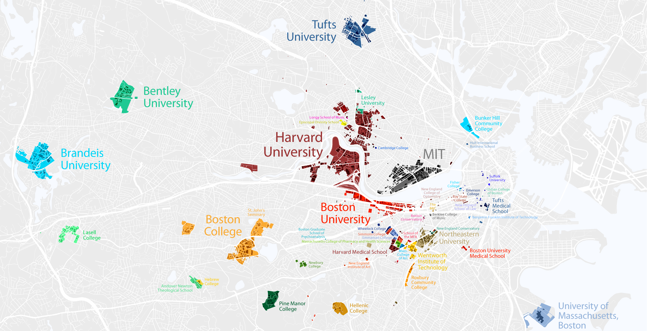 Map of Boston Colleges