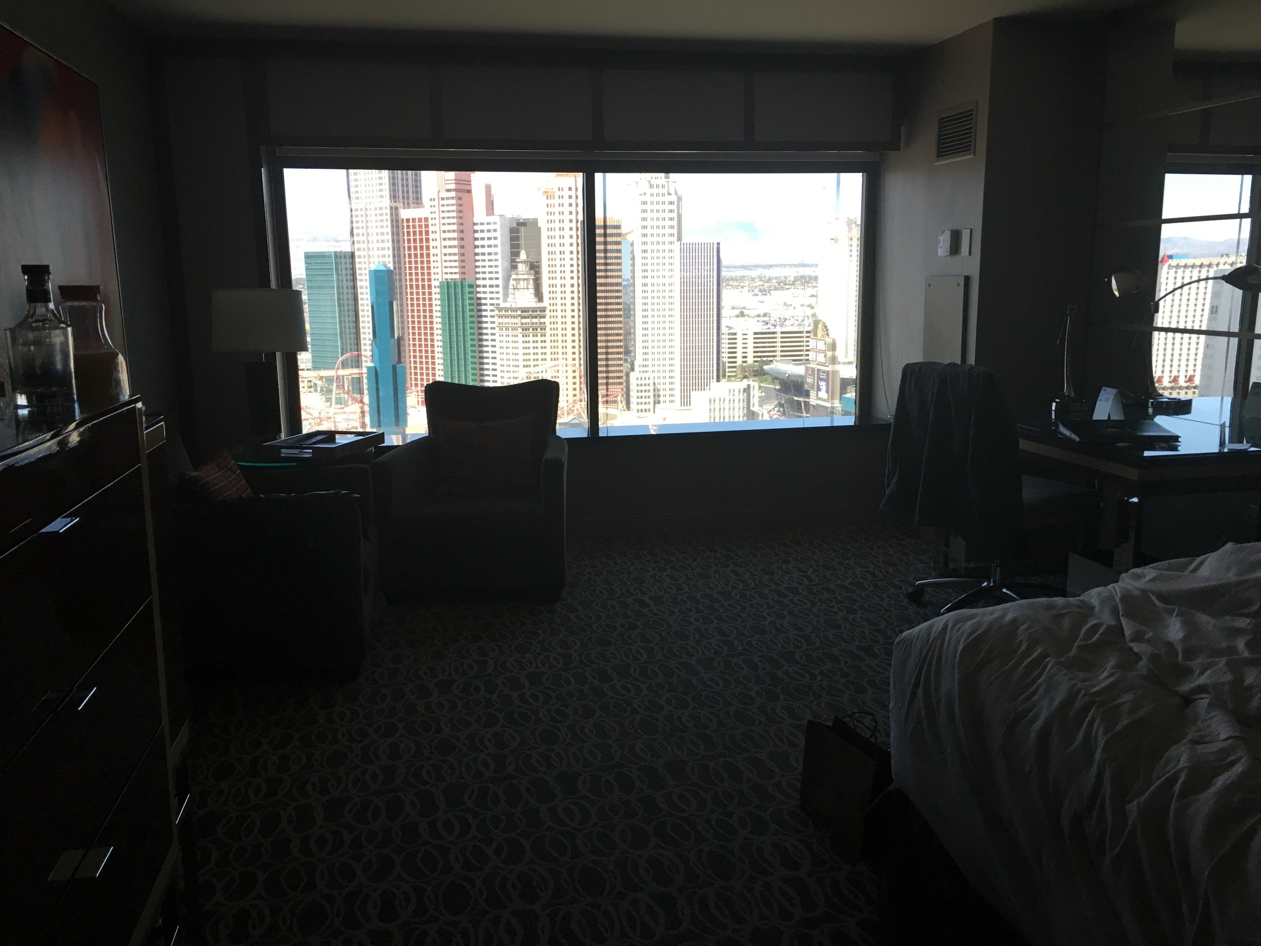 Upgraded Birthday hotel room at the MGM Grand with a view of the Strip