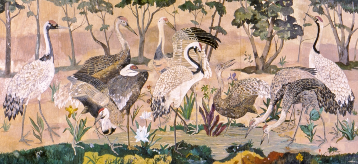 Procession of Cranes Along a Mountain River, oil on joined ash wood panels, 34 x 68.5 inches  Private collection, Anchorage, Alaska