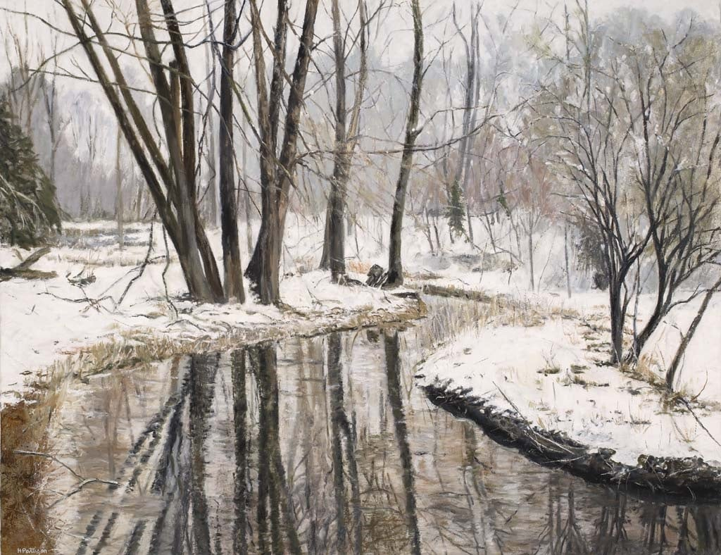 River in Winter, oil on linen, 27 x 35 inches
