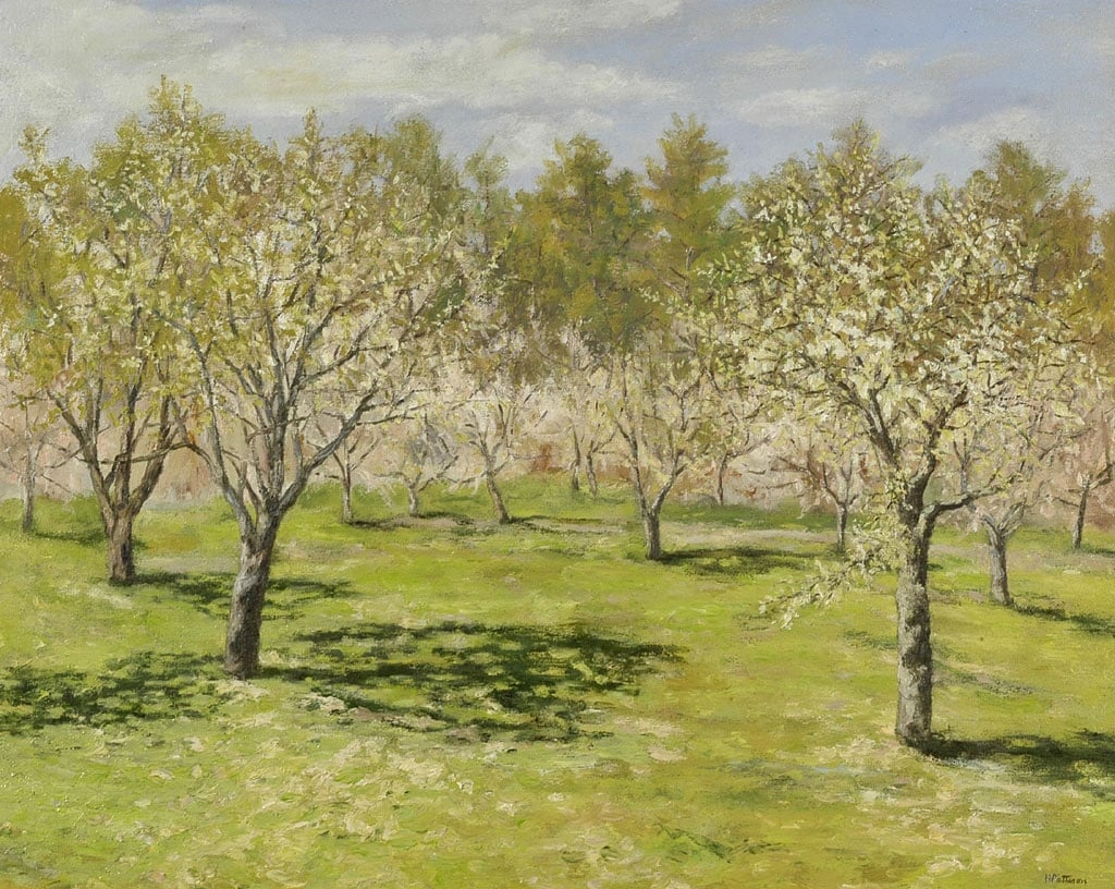 Apple Orchard in April, oil on canvas, 22 x 28 inches