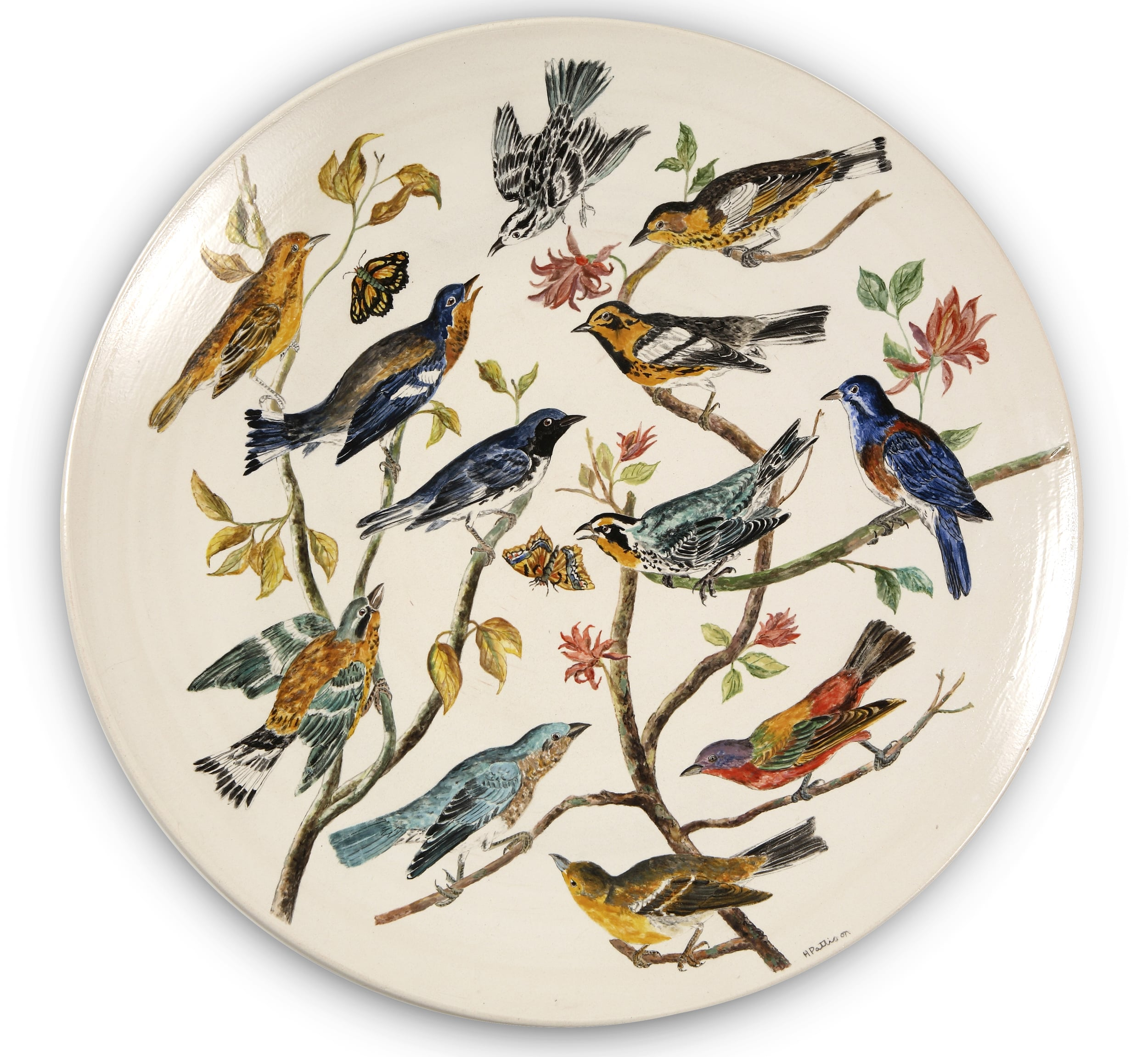 Warblers and Songbirds, glazed porcelain plate, 21 inch diameter