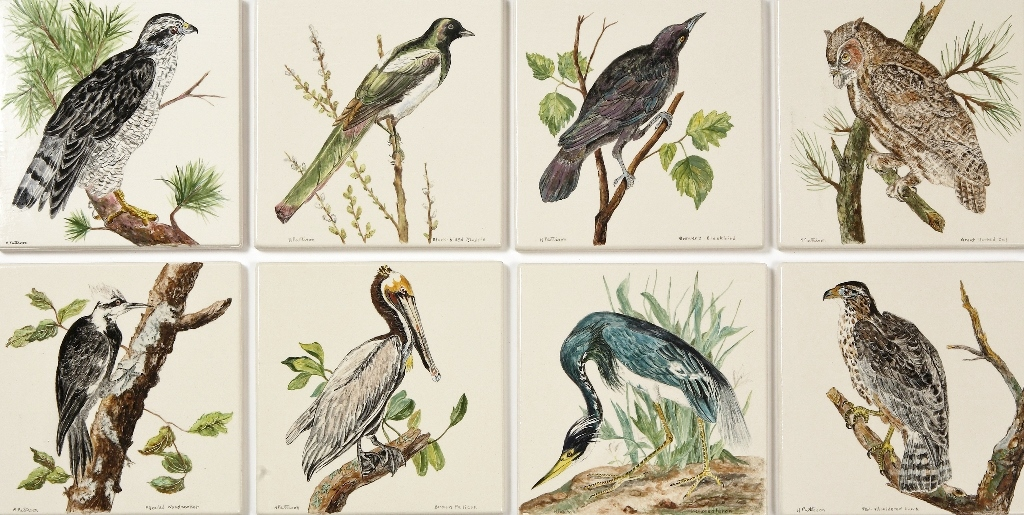 "Birds of America, glazed ceramic tiles, each 6"" x 6"". Detail of a wall display of 100 birds."