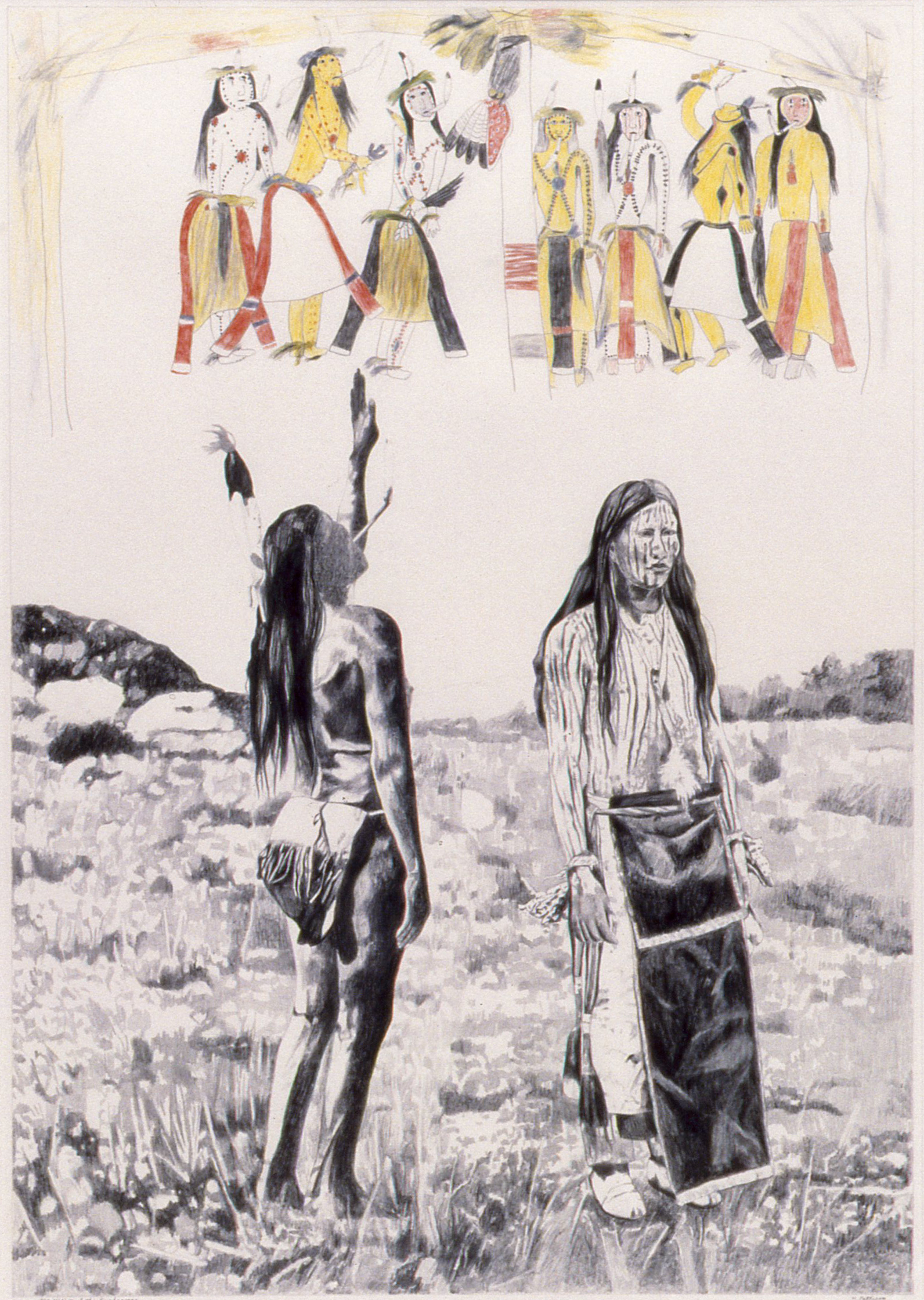Vision of the Sun Dancers, graphite and colored pencils on Arches, 39 x 29 inches  Private collection, Bellingham, Washington