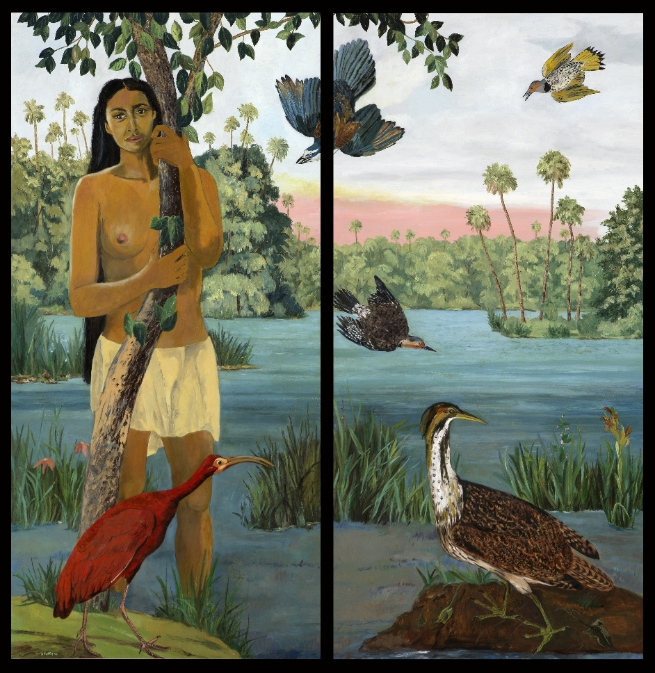 Calusa, oil on two wood screen panels, 48 x 47 inches