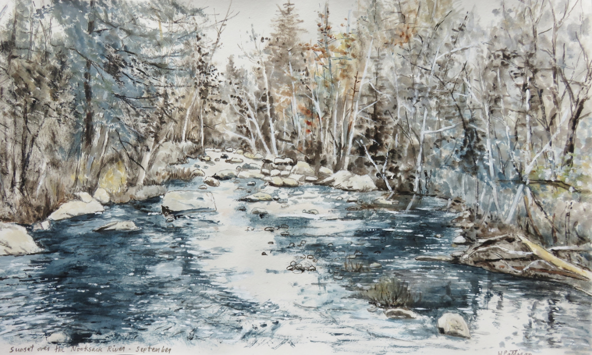 Winter Sunset over the Nooksack River, watercolor on Rives paper, 10.5 x 17 inches