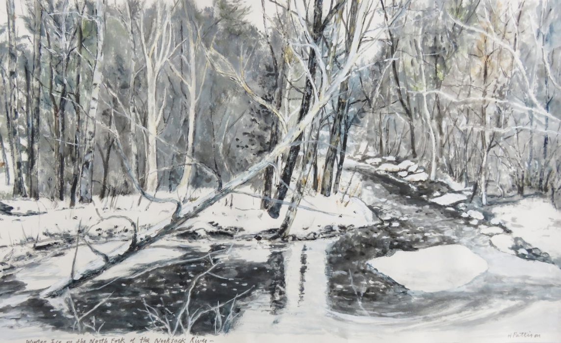 Winter Ice on the Nooksack River, watercolor on Rives paper, 10.5 x 17 inches