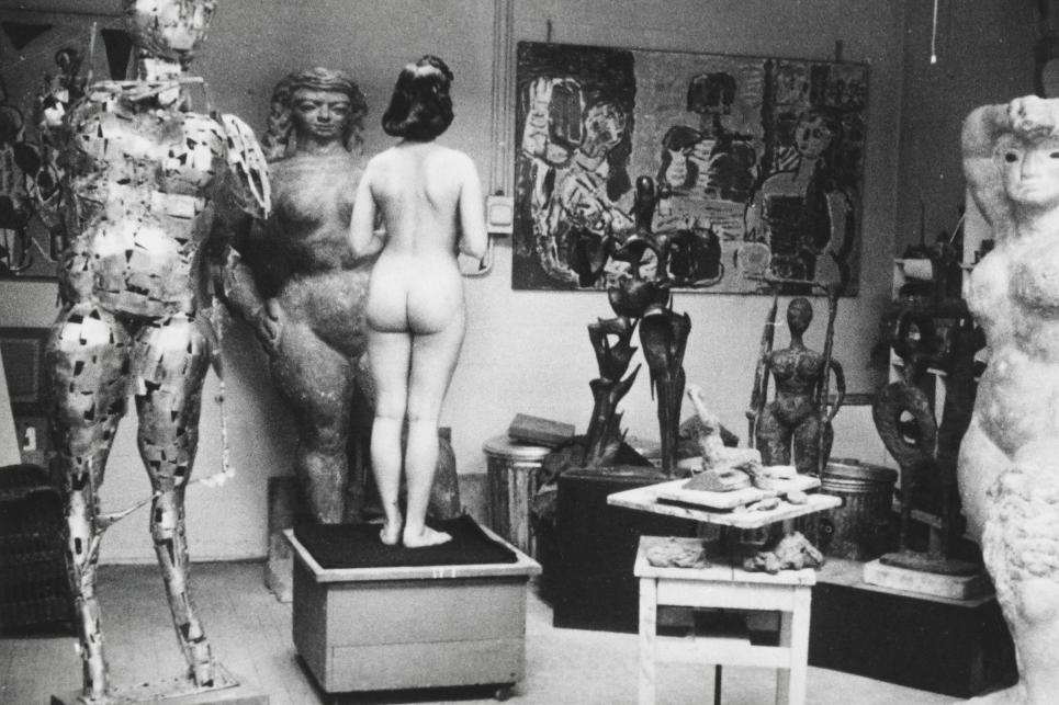 Model in Abbott Pattison's Chicago studio, 1955.
