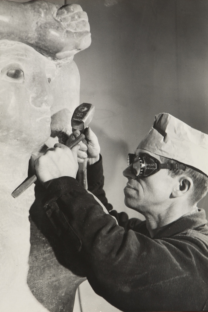 The sculptor carving WINGLESS VICTORY, Chicago, Illinois, 1950.