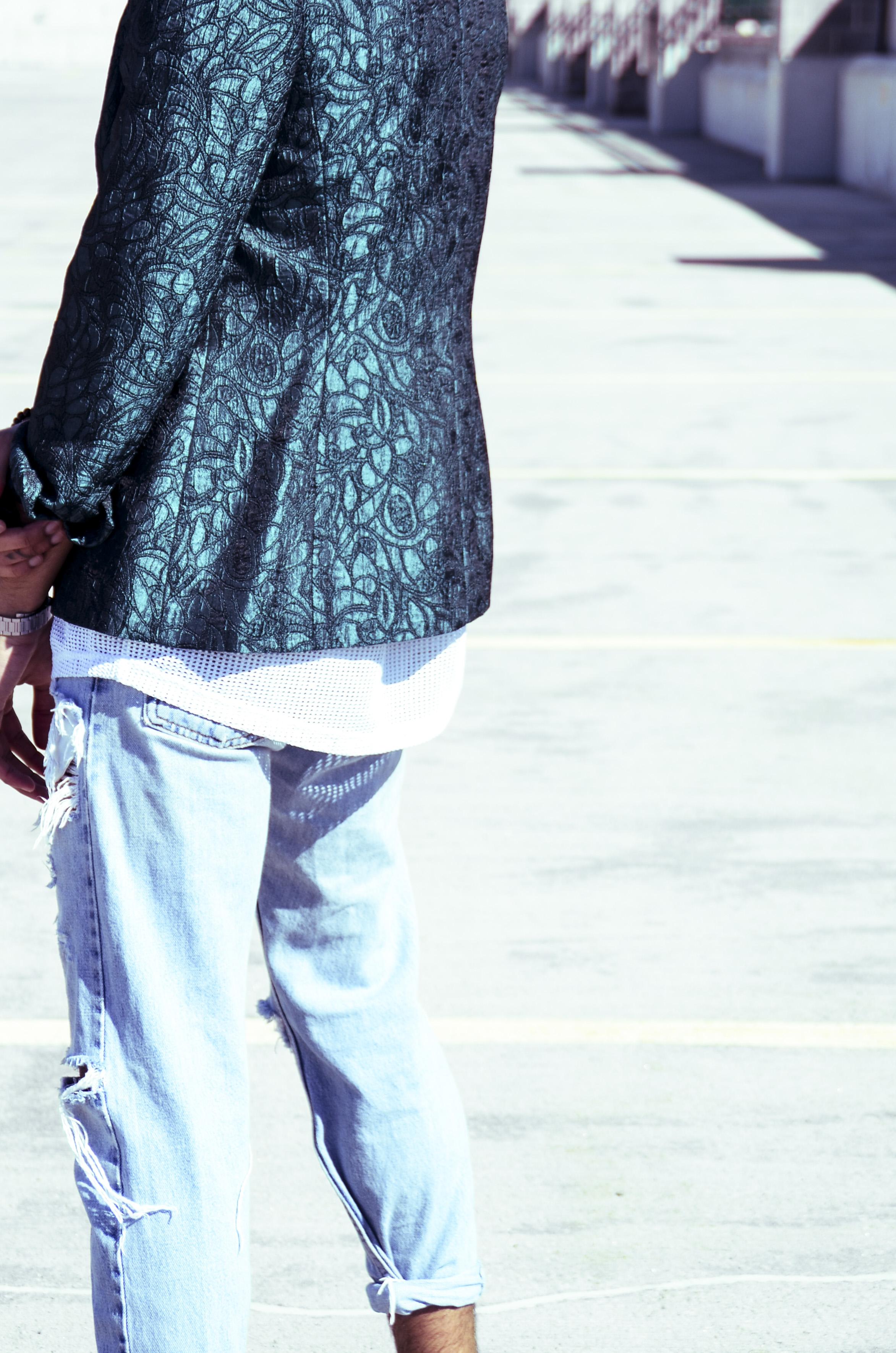 Blazer - Thrifted (Volunteers of America) | Mesh T- Shirt - ASOS ( asos.com ) | Jeans - Self Distressed Levis