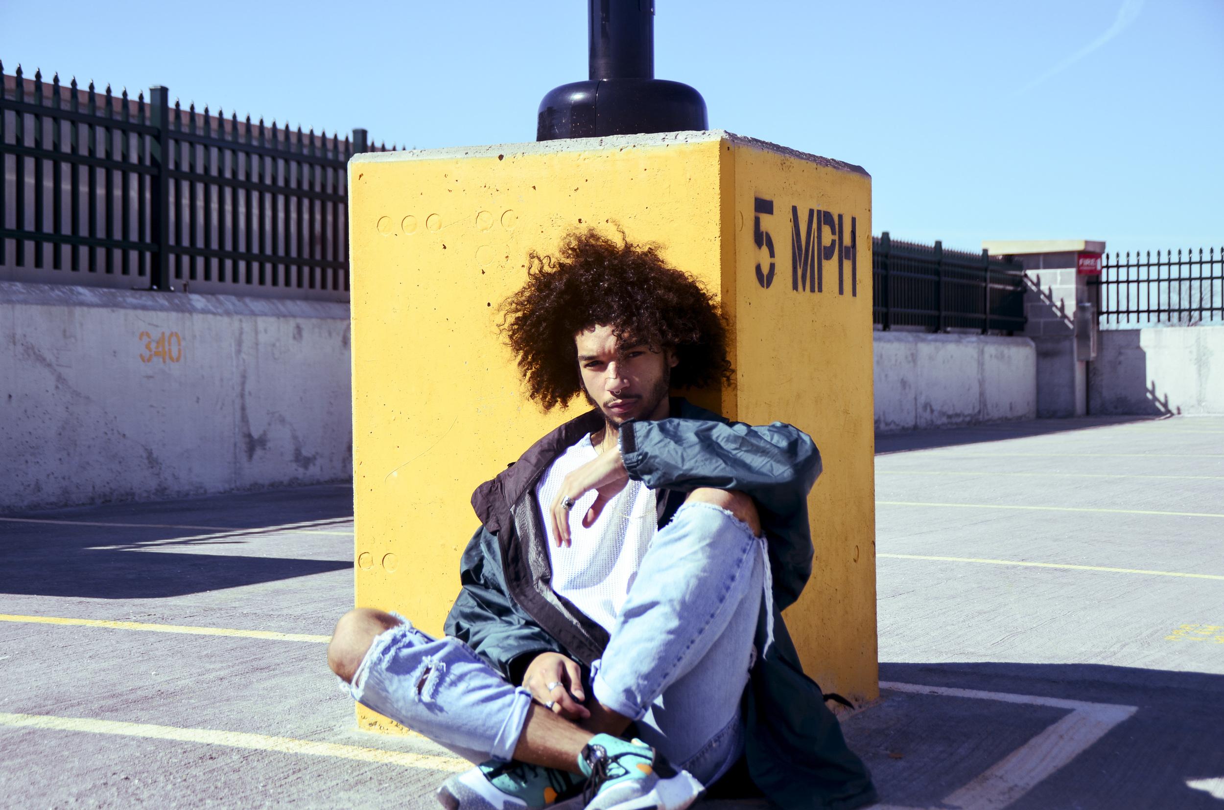 Windbreaker - Thrifted (Volunteers of America) | Mesh T- Shirt - ASOS ( asos.com ) | Jeans - Self Distressed Levis | Shoes - Nike Air Huarache Utility Premiums - ( nike.com )