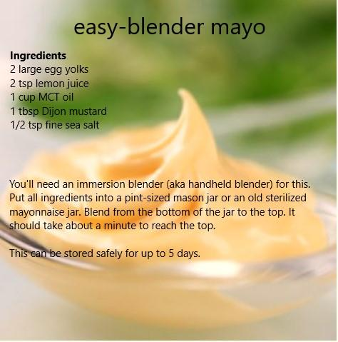 Mayo recipe from Maria Emmerich's The 30 Day Ketogenic Cleanse