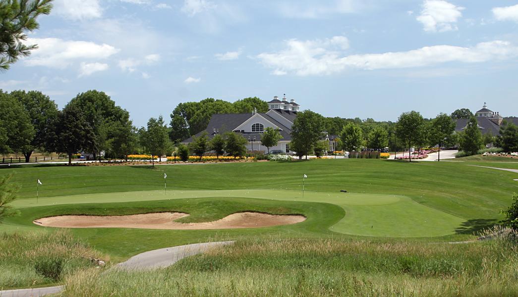 The practice green at The Bull at Pinehurst Farms, Sheboygan Falls, WI.