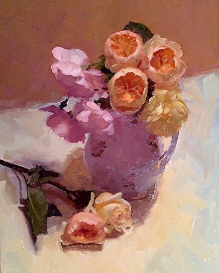 """""""Roses in Antique Pitcher"""" Oil on Canvas 24"""" x 18"""""""