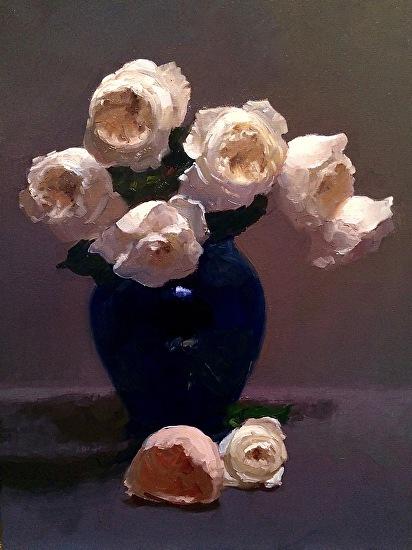 """Patience in Cobalt Vase"" Oil on Canvas 24"" x 18"""