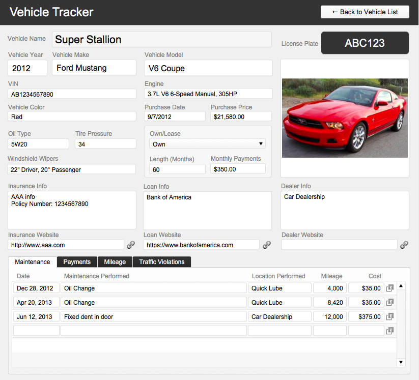 FileMaker Vehicle Database