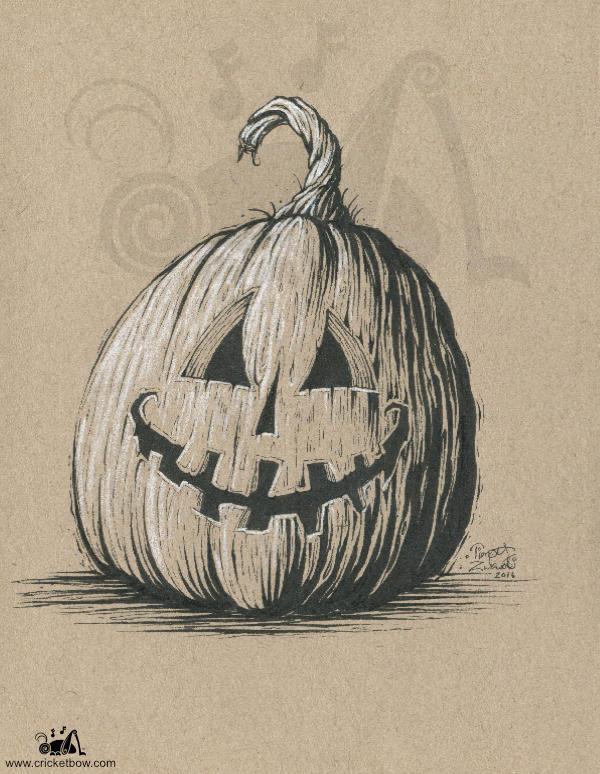 Jack O'Lantern on toned paper