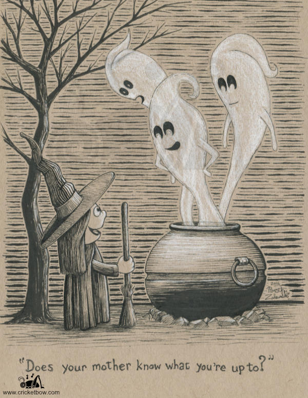 Little witch summoning ghosts on toned paper