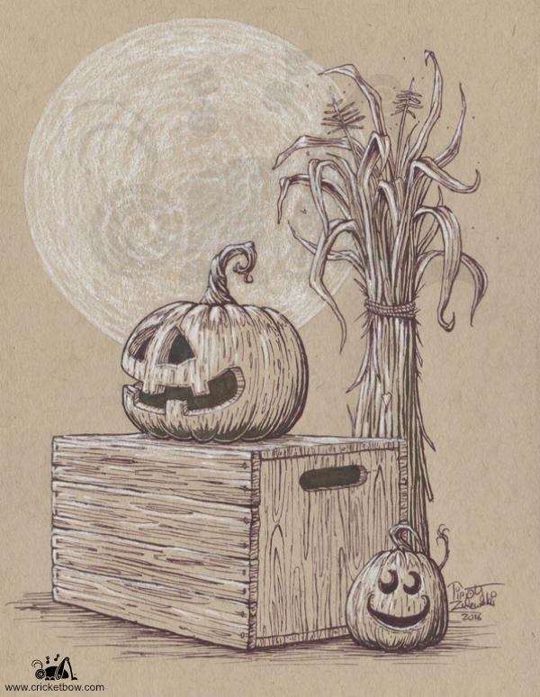 Jack O'Lanterns with a crate and cornstalk on toned paper