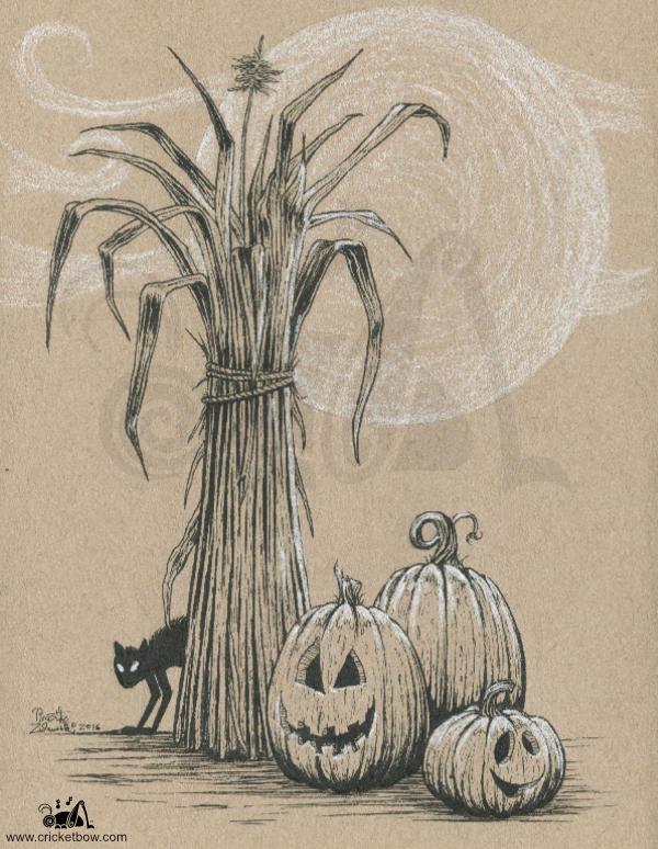 Jack O'Lanterns with cornstalk and black cat on toned paper