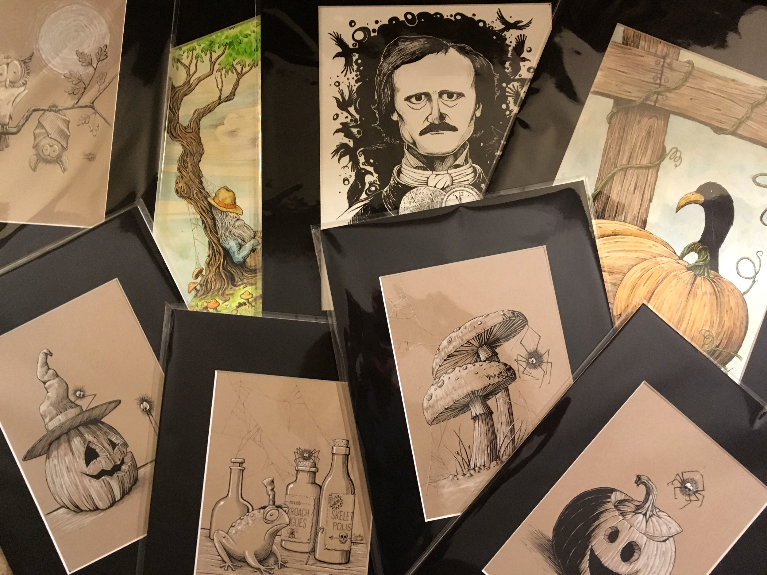 Sample photo of a selection of original art available for purchase.