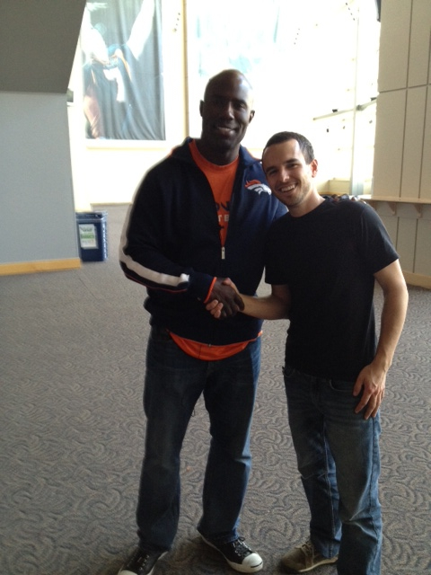 Terrell Davis takes a break between shoots to show some love.