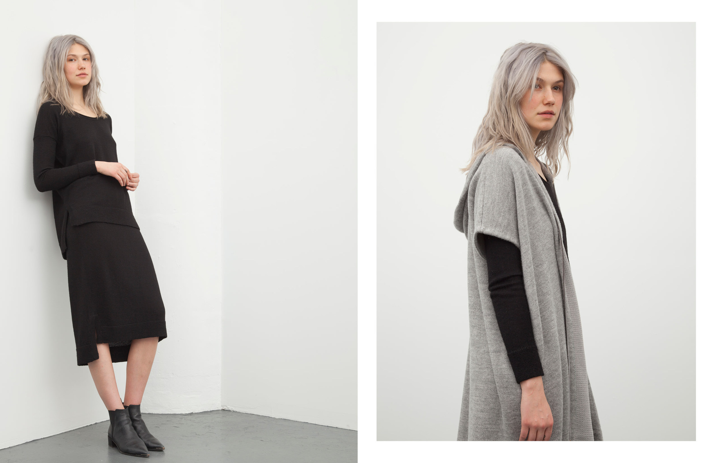 sally pullover: black / kayla skirt: black / marybeth hoodie: grey