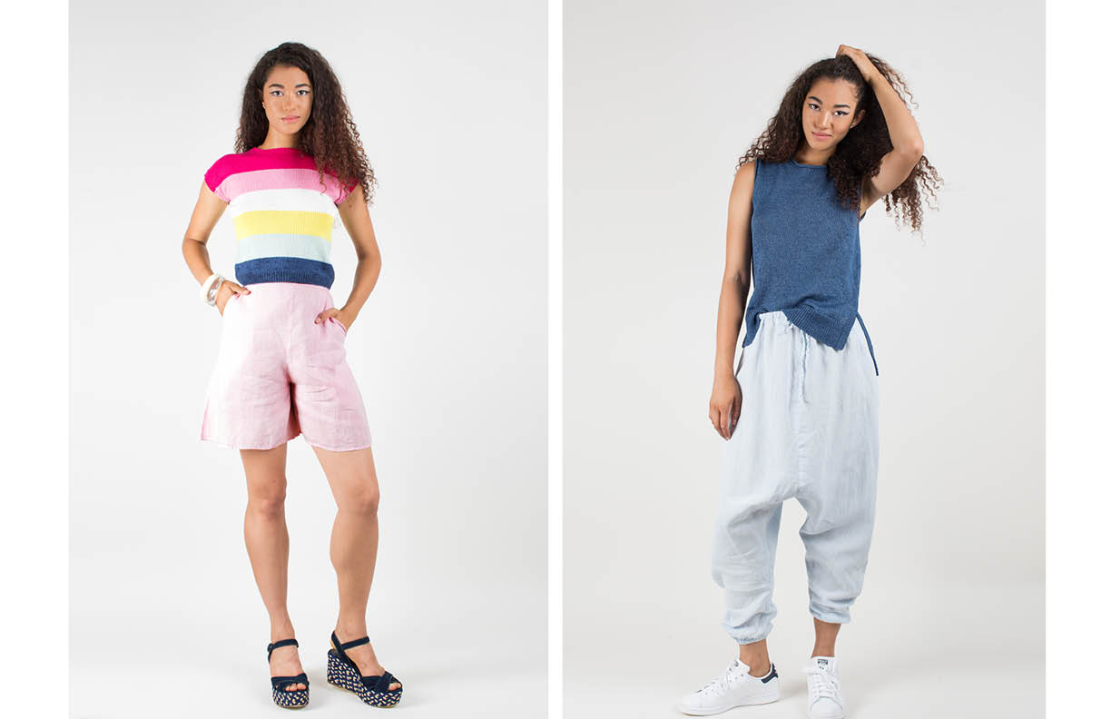 beau top: rainbow / odette shorts: pink marcia tank: indigo / zoltan pant: blue