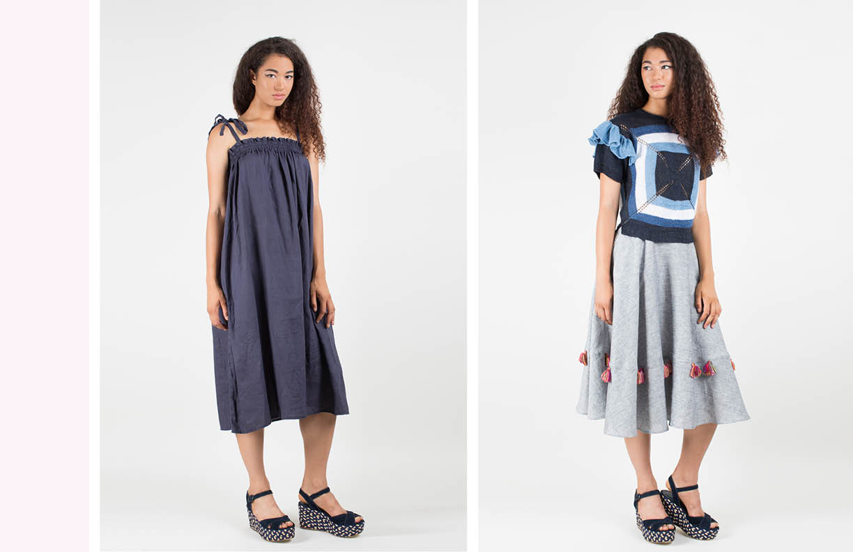 mar dress: navy delphine top, hand knit: indigo multi / josephine skirt with tassels: light gray