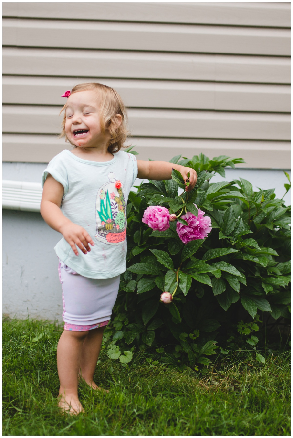 "She always says, ""OH! I like gardening!"" In her go-to PJs-turned mini skirt outfit."