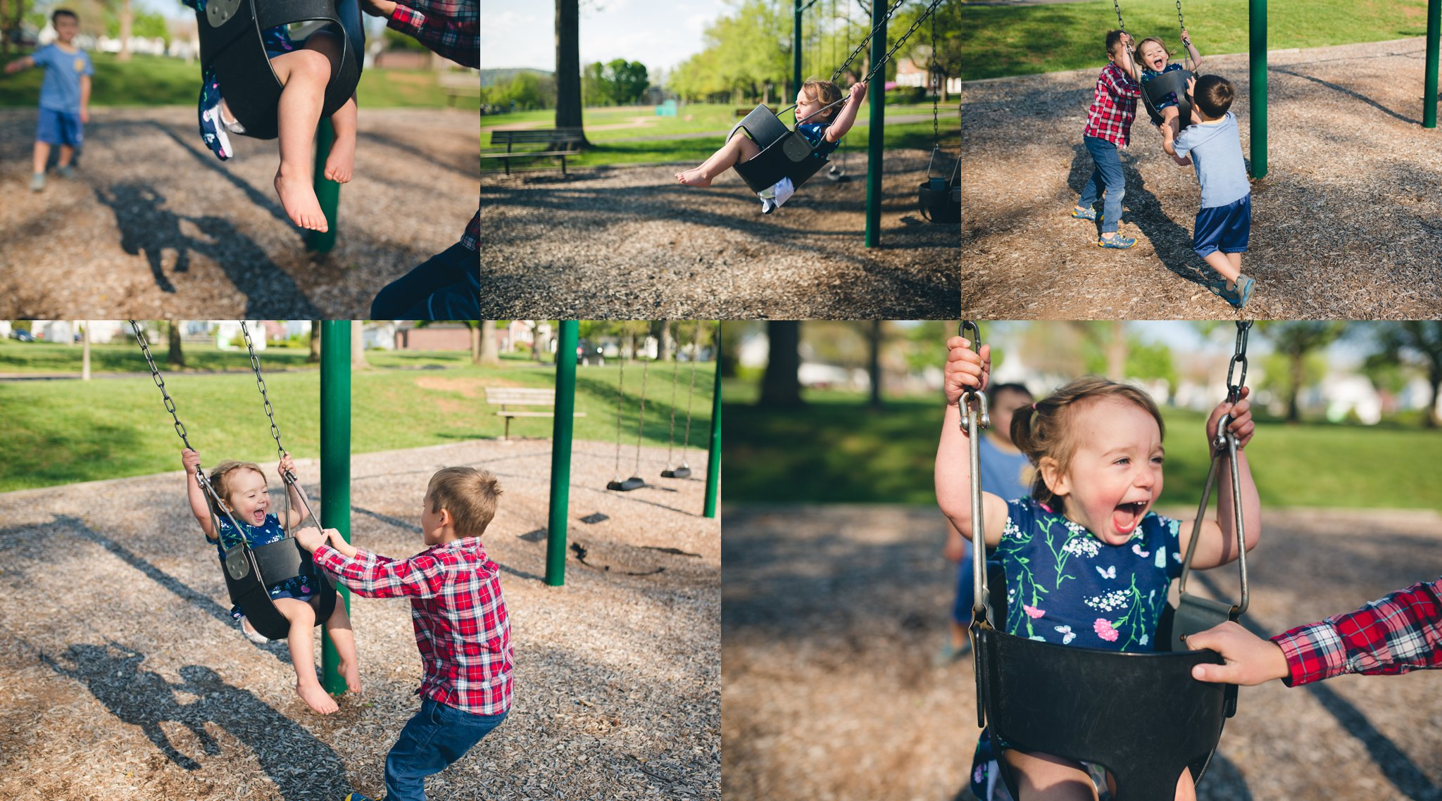 "Josephine is spoiled by her two brothers who love to push her on the swings. ""Higher, Higher!"" she giggles."