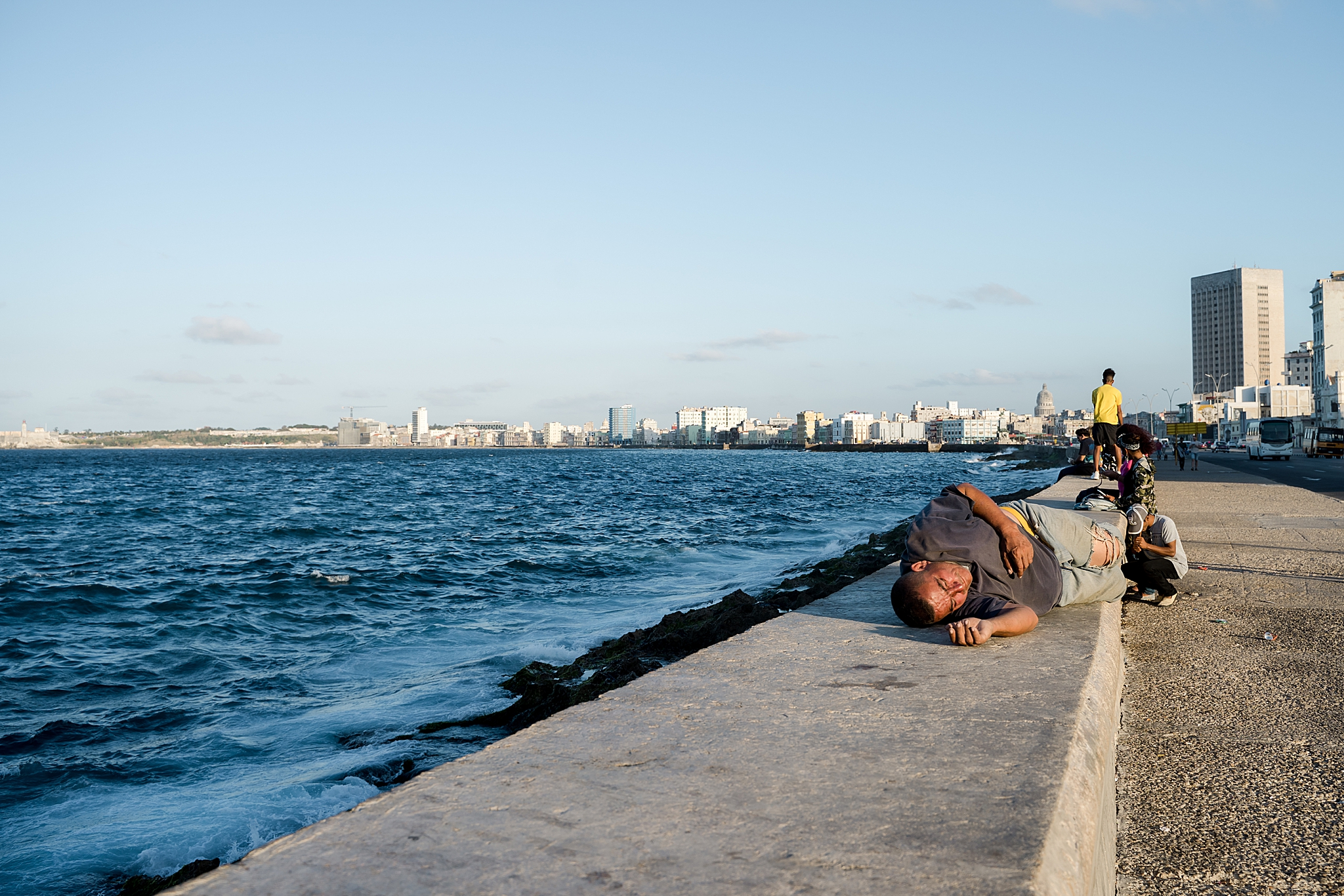 Walking El Malecon at sunset in Havana