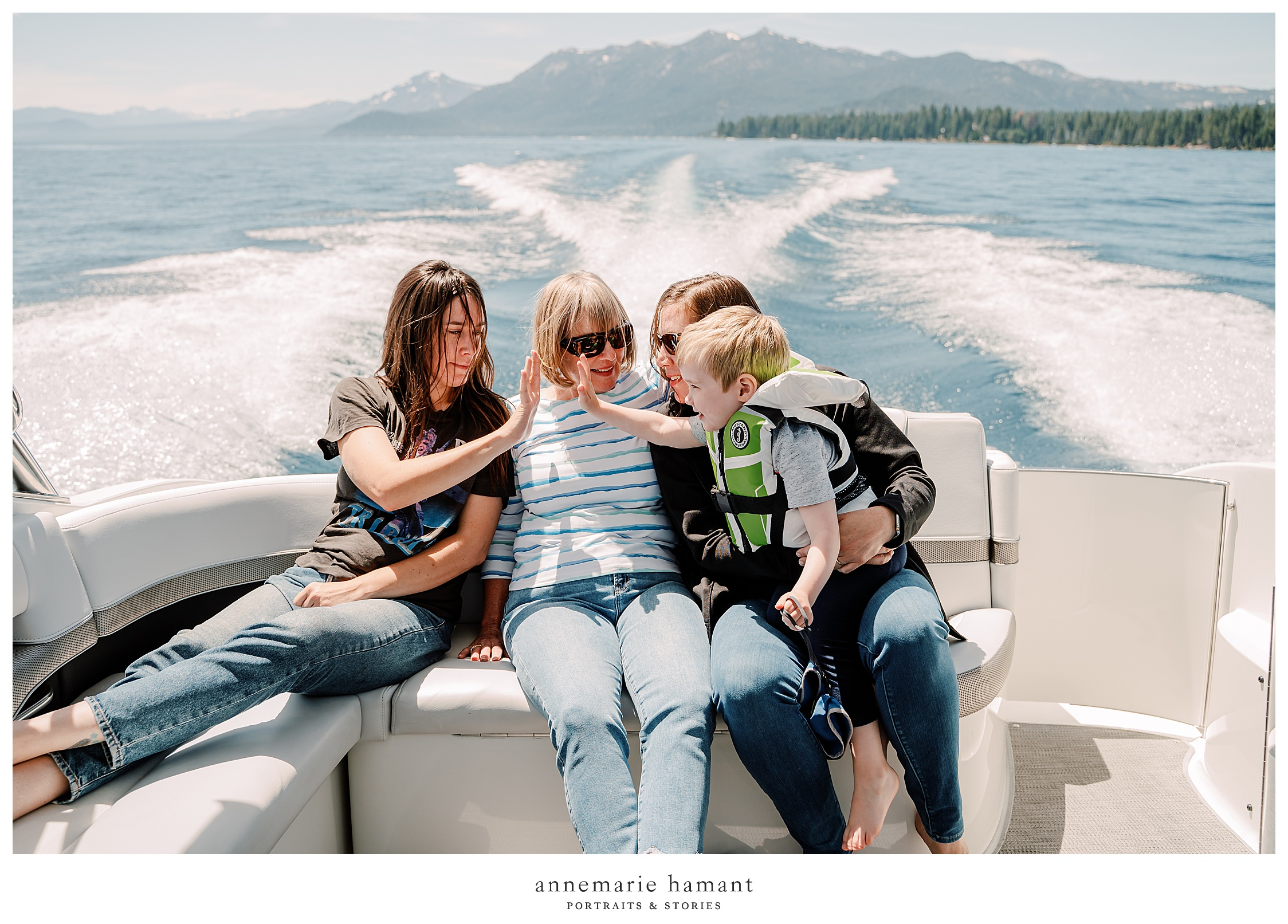 Documentary family photography on Lake Tahoe captures your family vacation and lake life. AnneMarie Hamant is an award winning photographer who travels to document her client's most important memories.