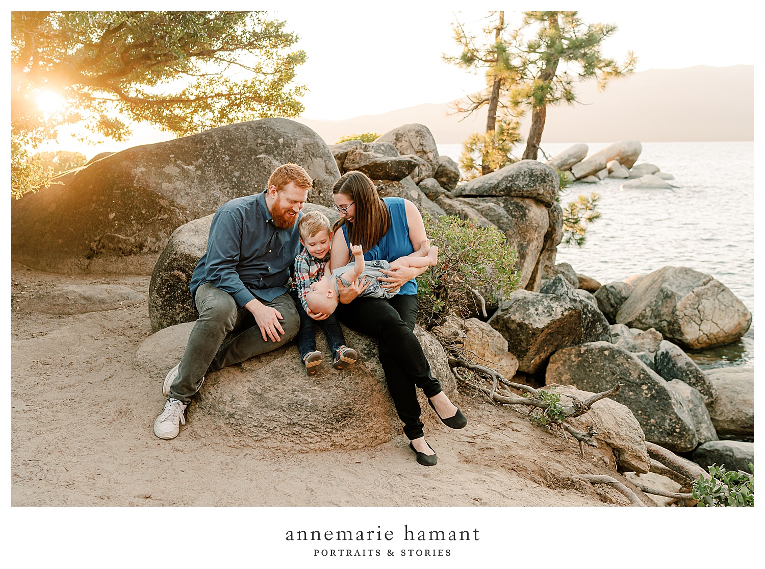 Sunset family photography at Sand Harbor, Lake Tahoe. AnneMarie Hamant uses sunset light and candid connections to photograph families on vacation in Lake Tahoe.