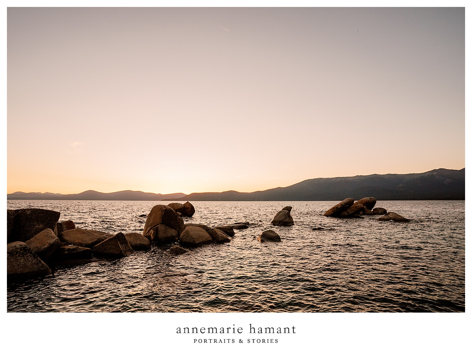 Beautiful sunset at Sand Harbor Lake Tahoe.