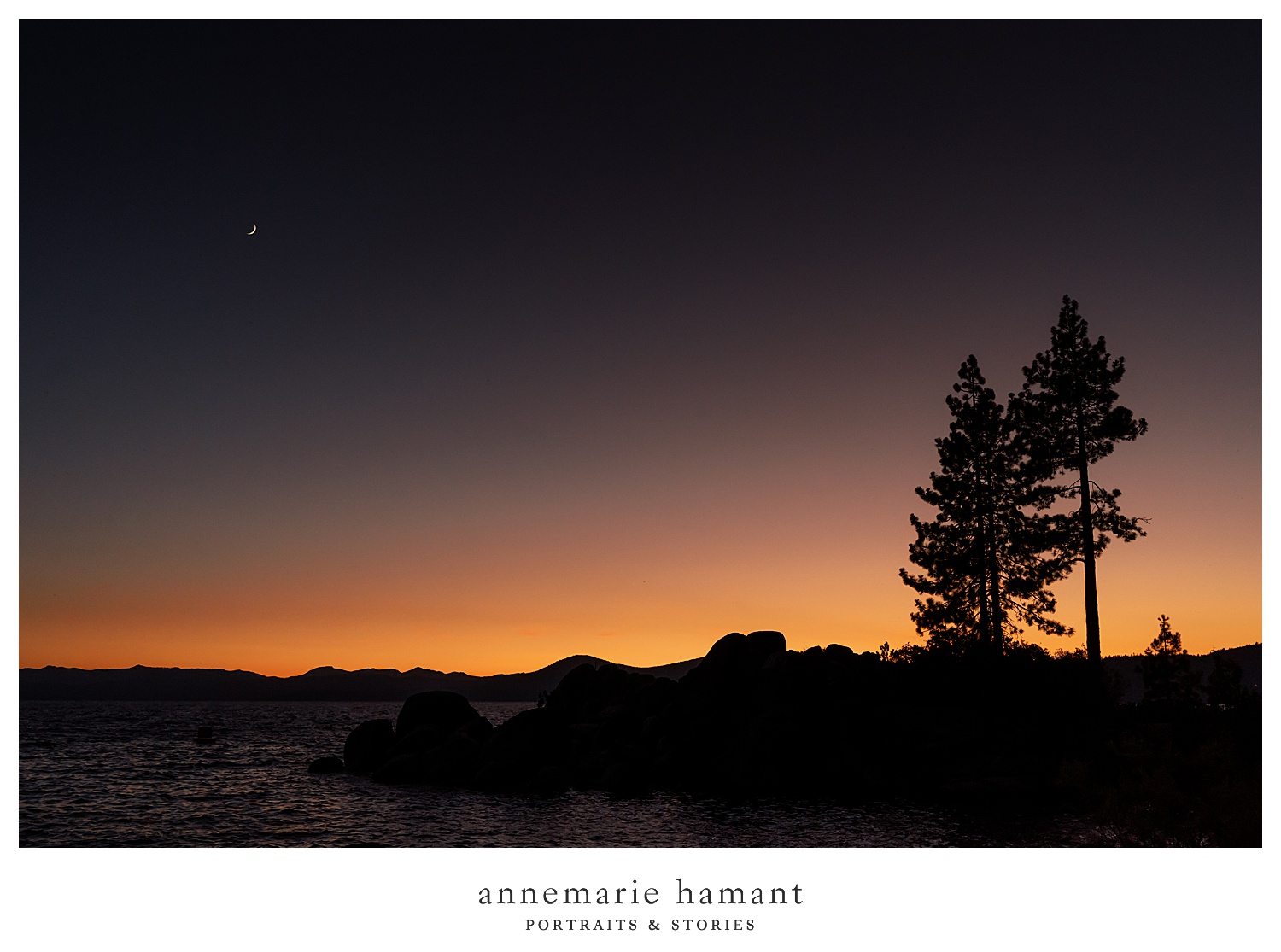 Sunset glow over lake tahoe.
