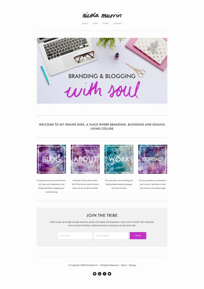 My website when using Avenue template